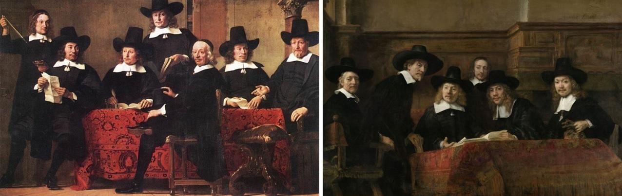 Ferdinand Bol, Portret van de Overlieden van het Amsterdamse Wijnkopersgilde, ca. 1659 (Alte Pinakothek, München) en Rembrandt, De waardijns van het Amsterdamse lakenbereidersgilde, bekend als 'De Staalmeesters', 1662 (Rijksmuseum, Amsterdam)