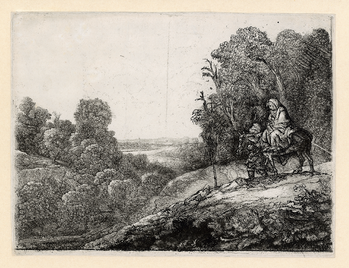 Rembrandt, The Flight into Egypt: on a plate by Hercules Segers, c. 1652. Etching, burin and drypoint (The Rembrandt House Museum, Amsterdam)