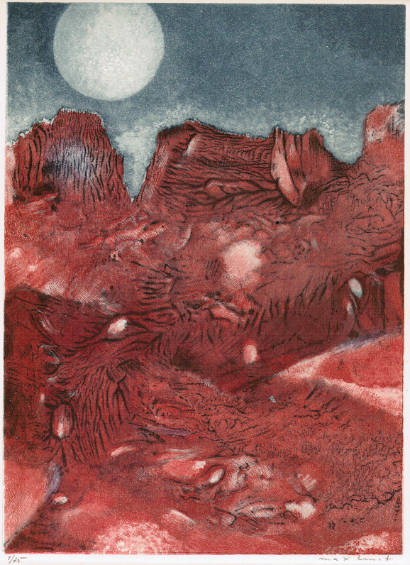 Max Ernst, Vue de ma fenêtre, 1960. Ets en aquatint, 218 x 161 mm, Keulen, Galerie Der Spiegel © Max Ernst, Vue de ma fenêtre, 1960, c/o Pictoright Amsterdam