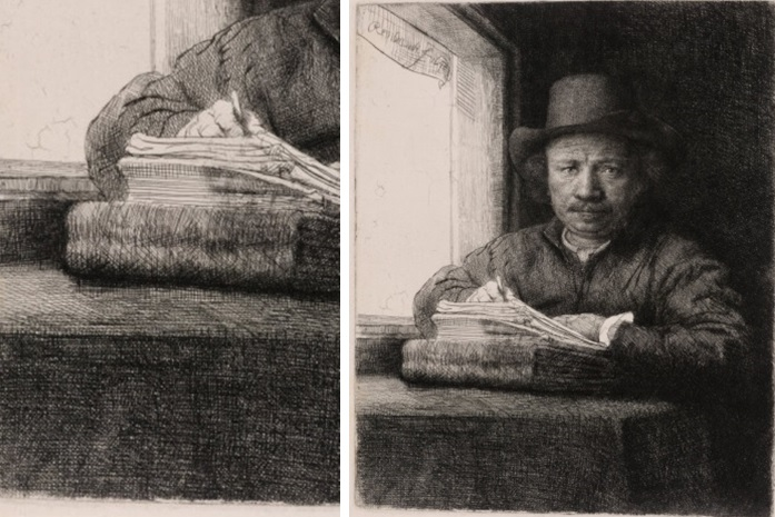 Rembrandt, Self-Portrait, Drawing at a Window, 1648 (The Rembrandt House Museum, Amsterdam).