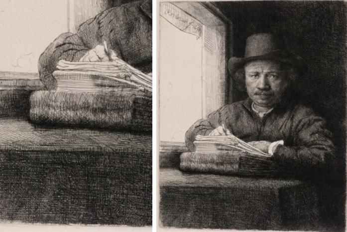 Rembrandt, Zelfportret , etsend bij het raam, 1648 (Museum Het Rembrandthuis, Amsterdam).