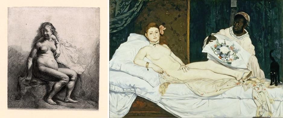 Rembrandt, Naakte vrouw, zittend op een heuveltje, ca. 1631 (Museum Het Rembrandthuis, Amsterdam), en Eduard Manet, Olympia, 1863 (Musée d'Orsay, Parijs).